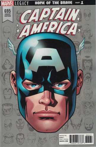 Captain America #695 1:10 Mike McKone Headshot Variant Marvel Legacy 2017