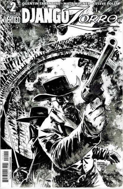 Django Zorro #2 1:15 Gabriel Hardman Black and White Variant