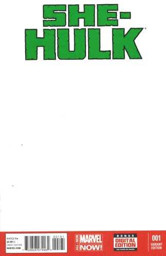 She-Hulk #1 Blank Sketch Variant Marvel ANMN 2014 Charles Soule Javier Pulido