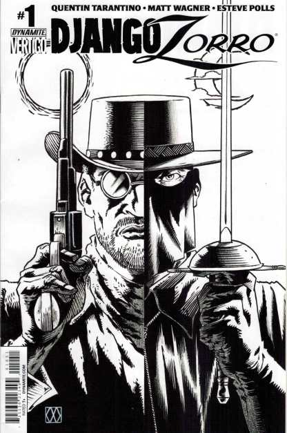 Django Zorro #1 1:25 Wagner Black and White Variant Dynamite Comic
