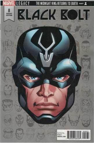 Black Bolt #8 1:10 Mike McKone Headshot Variant Marvel Legacy 2017