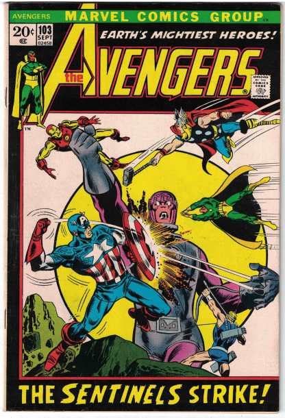 Avengers #103 FINE FN Condition Marvel Comics 1963 Sentinels Bronze Age