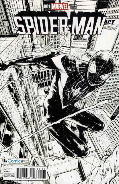 Spider-Man #1 ComicsPro Exclusive Black and White Variant 2016 Miles Morales