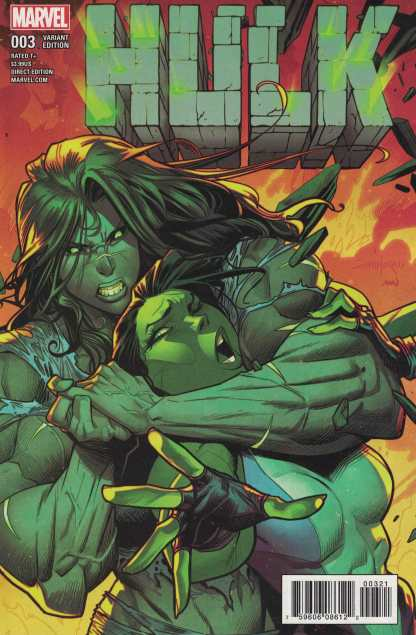 Hulk #3 1:25 Dan Mora Variant Marvel NOW 2016 Gray She Hulk