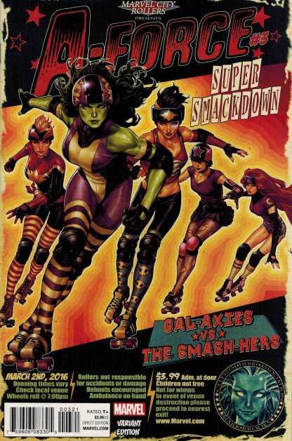 A-Force #3 1:25 Mark Brooks Variant Marvel ANAD 2016 Roller Derby
