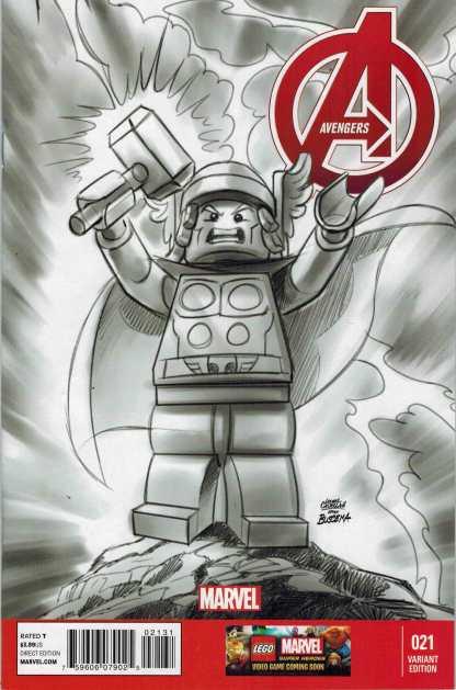 Avengers #21 1:100 Sketch Lego Variant Black and White