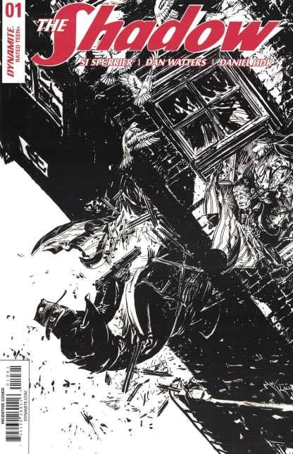 The Shadow #1 1:10 Michael Kaluta Variant Cover F B&W Sketch Dynamite 2017
