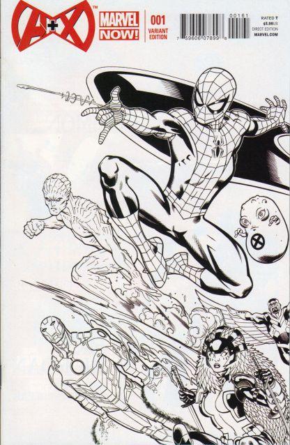 A+X #1 Ed McGuinness Black & White Variant Marvel 2012 Spider-Man Iceman
