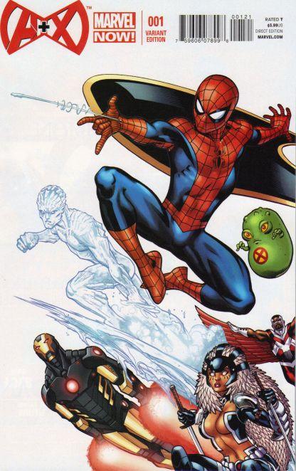 A+X #1 1:25 Ed McGuinness Color Variant Marvel Spider-Man Avengers Plus Men 2012