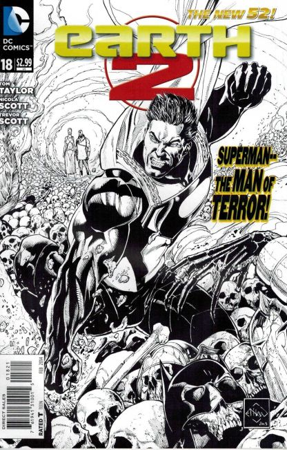 Earth 2 #18 Ethan Van Sciver Black and White Sketch Variant