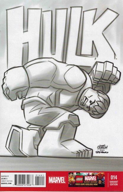Indestructible Hulk #14 Black and White Leonel Castellani Lego Sketch Variant