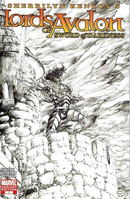 Lords of Avalon: Sword of Darkness #1 Black White Tom Grummett Sketch Variant