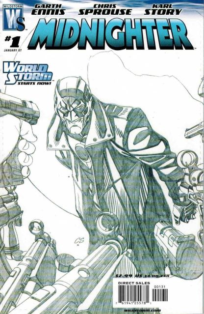 Midnighter #1 Chris Sprouse Black and White Sketch Variant