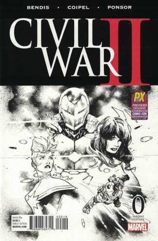 Civil War II #0 Previews Exclusive SDCC Black White Sketch Variant Marvel 2016