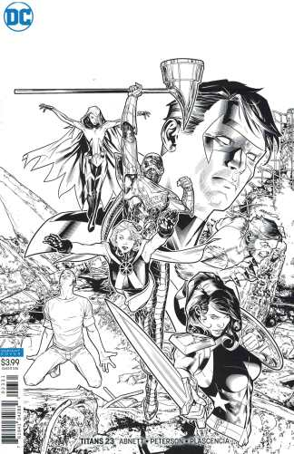 Titans #23 1:25 Brandon Peterson Inks Only Black &White Sketch Variant DC Teen