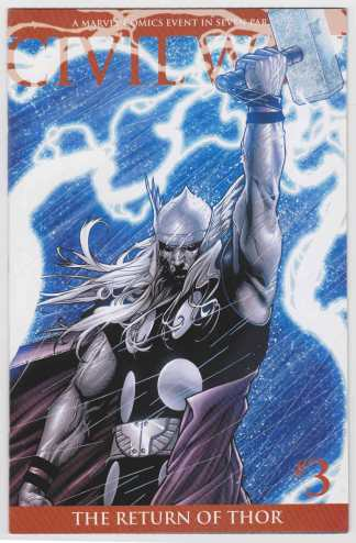 Civil War #3 Second Printing McNiven Return of Thor Variant Marvel 200 VF/NM