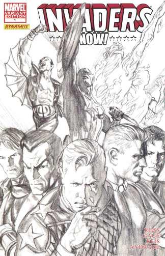 Invaders Now #1 1:100 Alex Ross B&W Pencils Sketch Variant Marvel Dynamite 2010