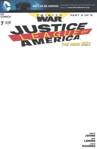 Justice League of America #7 Blank Variant DC 2013 Trinity War