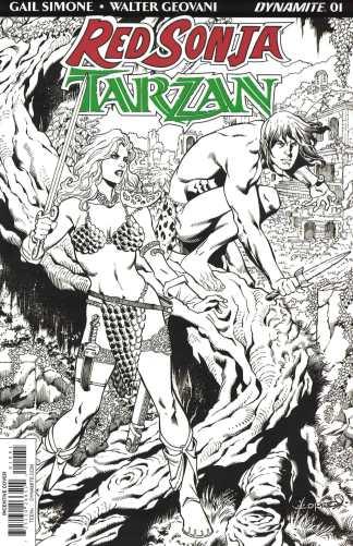 Red Sonja Tarzan #1 1:30 Lopresti Black White Sketch Variant Dynamite 2018