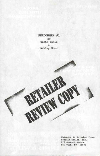 Shadowman Retailer Review Copy Preview Garth Ennis Ashley Wood