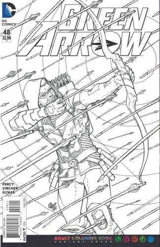 Green Arrow #48 Cully Hamner Adult Coloring Book Variant DC 2011 Ben Percy