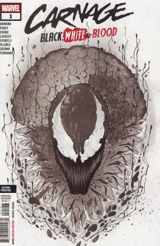 Carnage Black White Blood #1 2nd Print 1:50 Peach Momoko B&W Variant Marvel 2021
