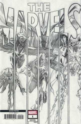 The Marvels #1 1:25 2nd Print Ross B&W Sketch Marvel 2020 Busiek