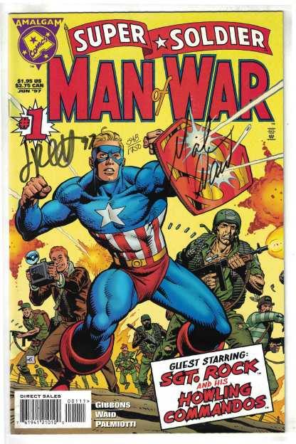 Super Soldier Man of War #1 Signed by Waid and Palmiotti Amalgam 1997 VF/NM