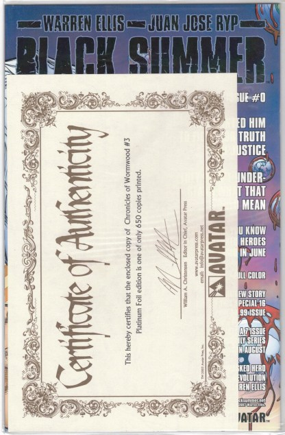 Chronicles of Wormwood #3 Platinum Foil Variant w/ COA Sealed Polybag VF/NM