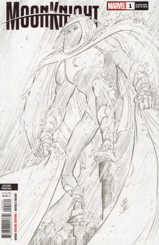 Moon Knight #1 Second Print 1:25 John Romita Jr Sketch Variant Marvel 2021