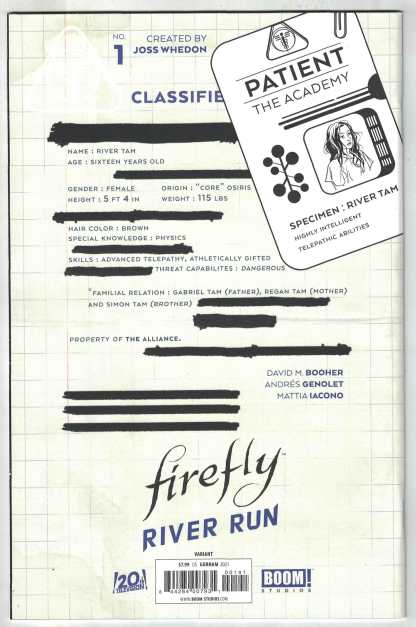 Firefly River Run #1 1:10 Adam Gorham Virgin Variant Boom 2021 VF/NM