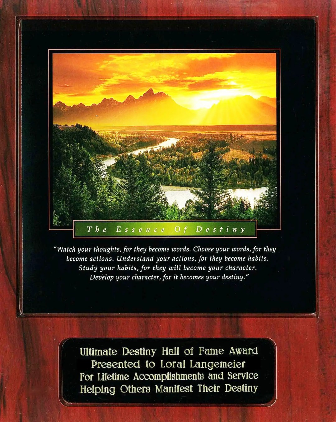 Loral Langemeier Ultimate Destiny Hall of Fame Award Recipient Plaque