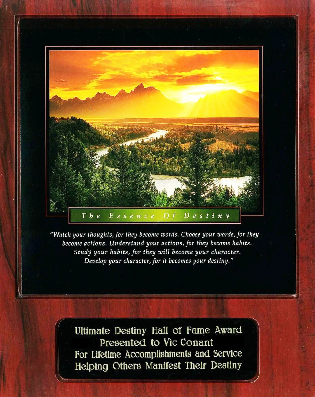 Vic Conant Ultimate Destiny Hall of Fame Award Plaque