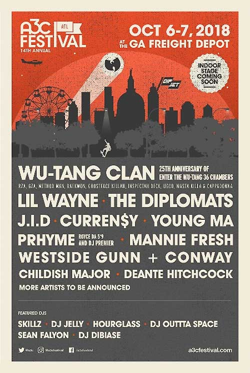 A3C Festival 2018 line up poster USA