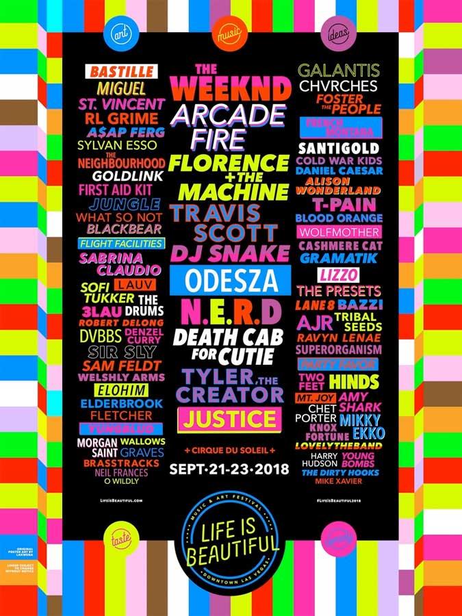 Life is Beautiful Music Festival 2018 poster Las Vegas