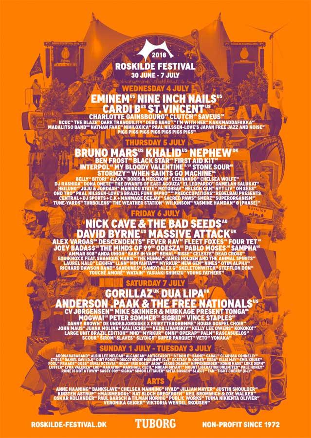 Roskilde Festival 2018 Denmark final line up poster