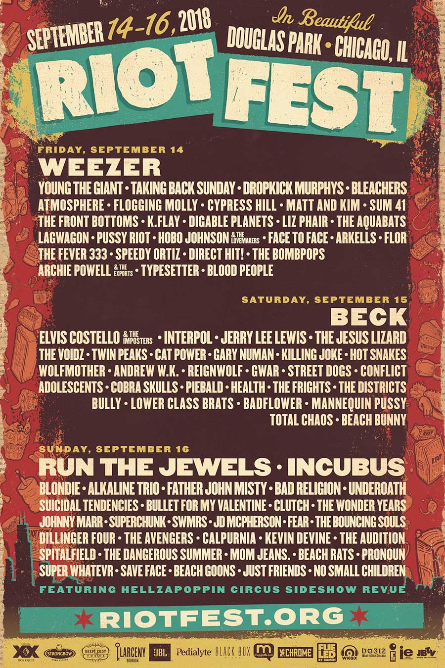 Riot Fest 2018 daily line up poster