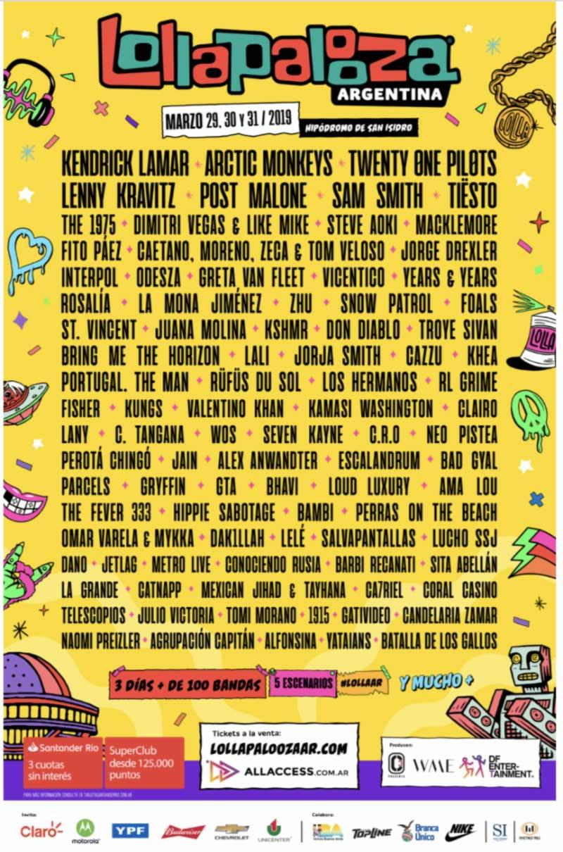 Lollapalooza Argentina 2019 poster