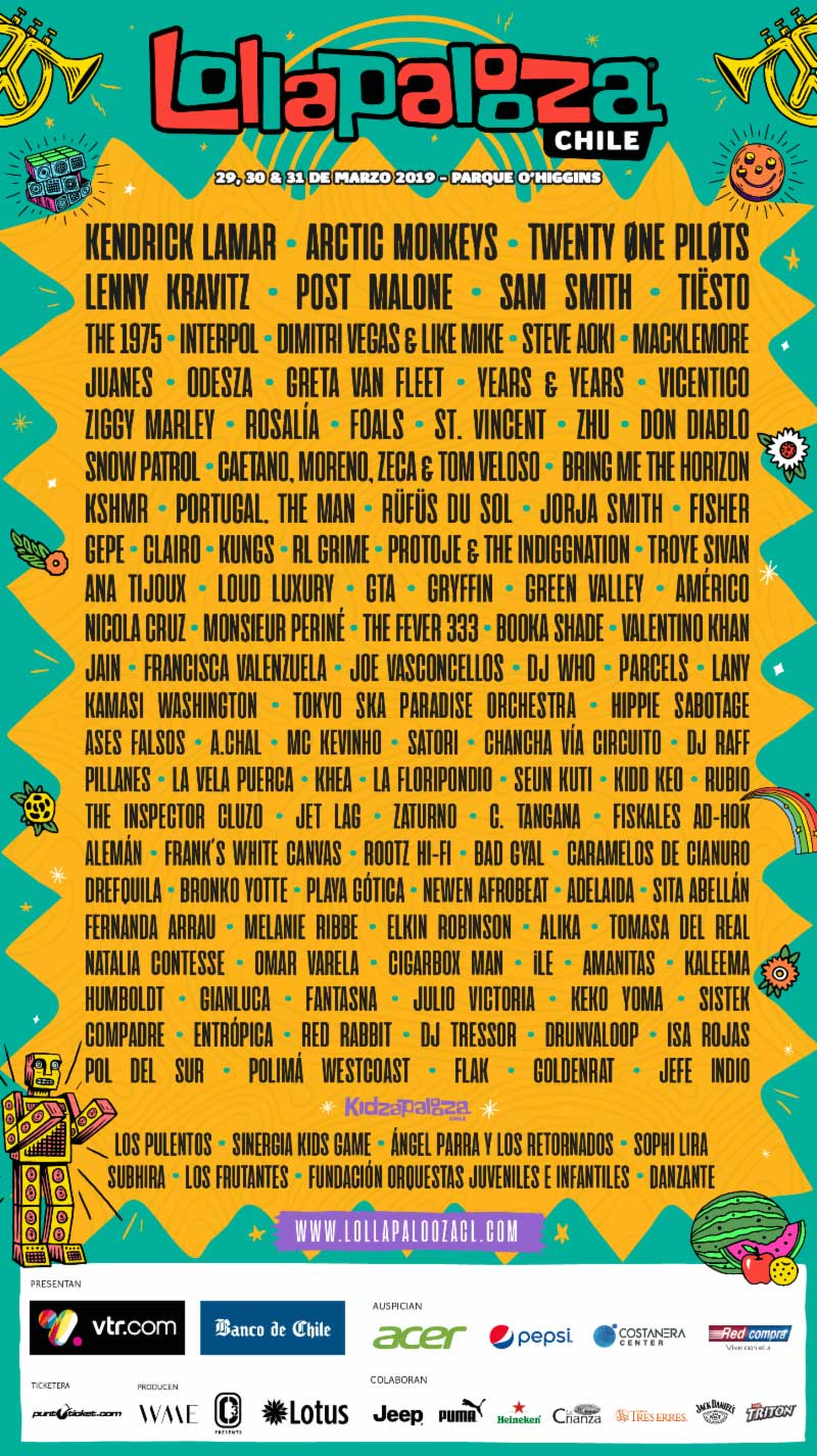 Lollapalooza Chile 2019 poster