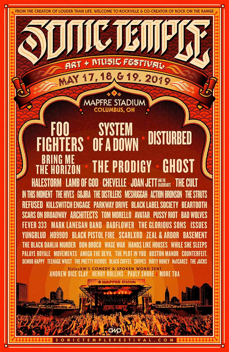 Sonic Temple Festival 2019 line up poster USA