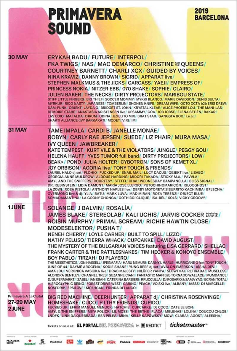 Primavera Sound 2019 Spain line up poster