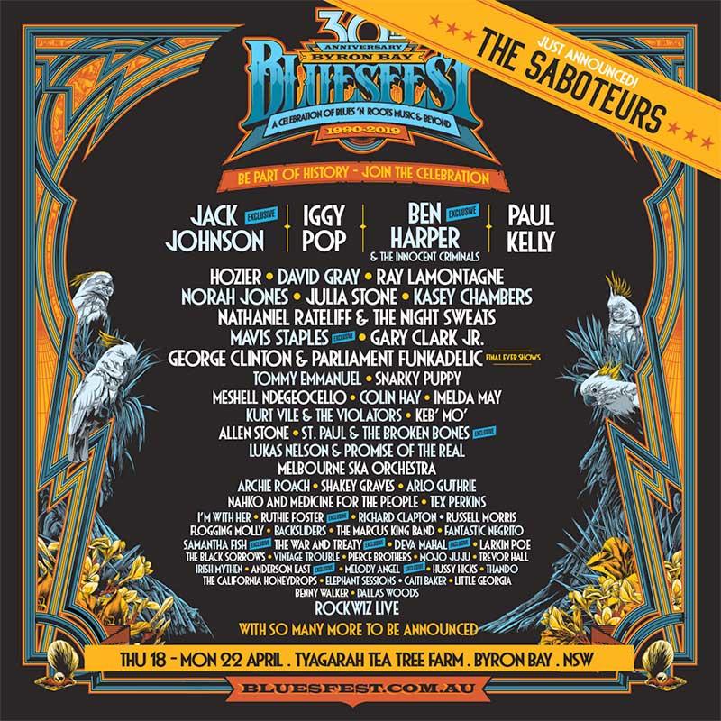 Bluesfest Byron Bay 2019 latest poster January