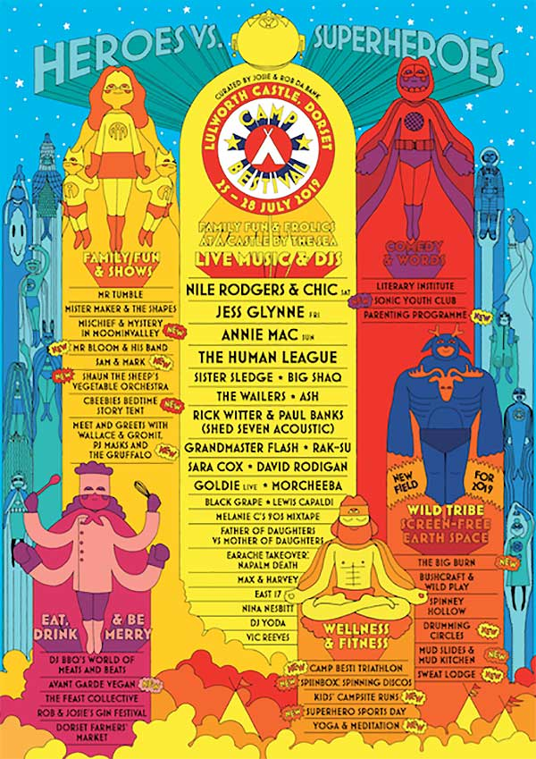 Camp Bestival UK 2019 poster Nile Rodgers
