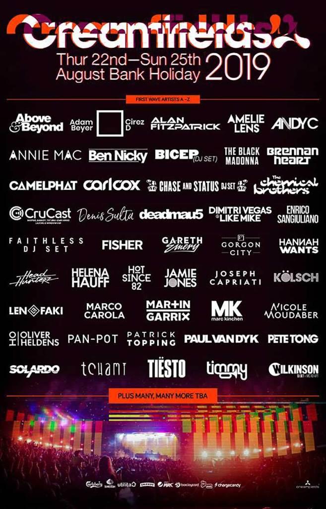 Creamfields UK 2019 first wave artists poster
