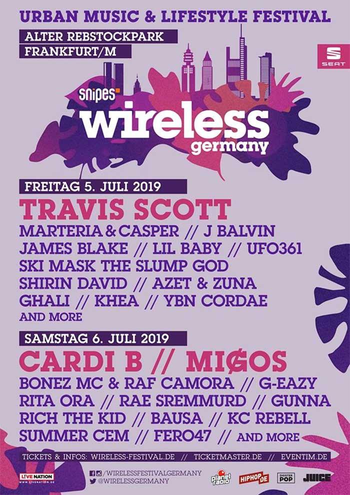 Wireless Festival Germany 2019 latest poster with Cardi B