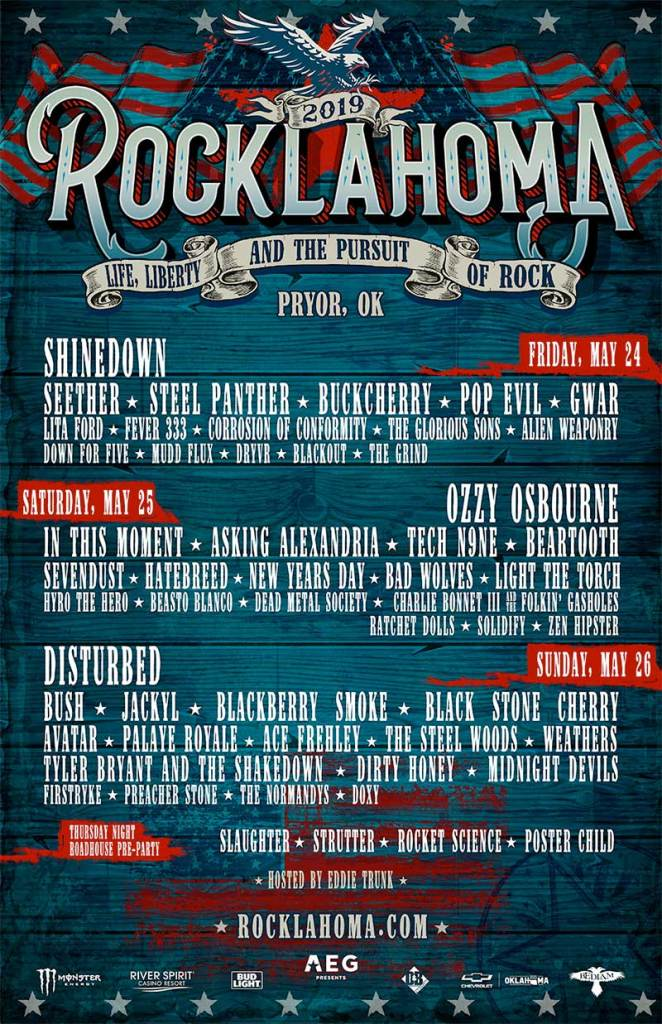 Rocklahoma daily lineup 2019 poster