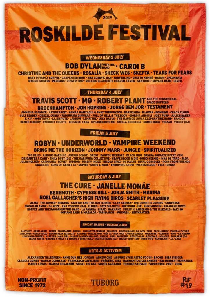 Roskilde Festival 2019 day splits poster