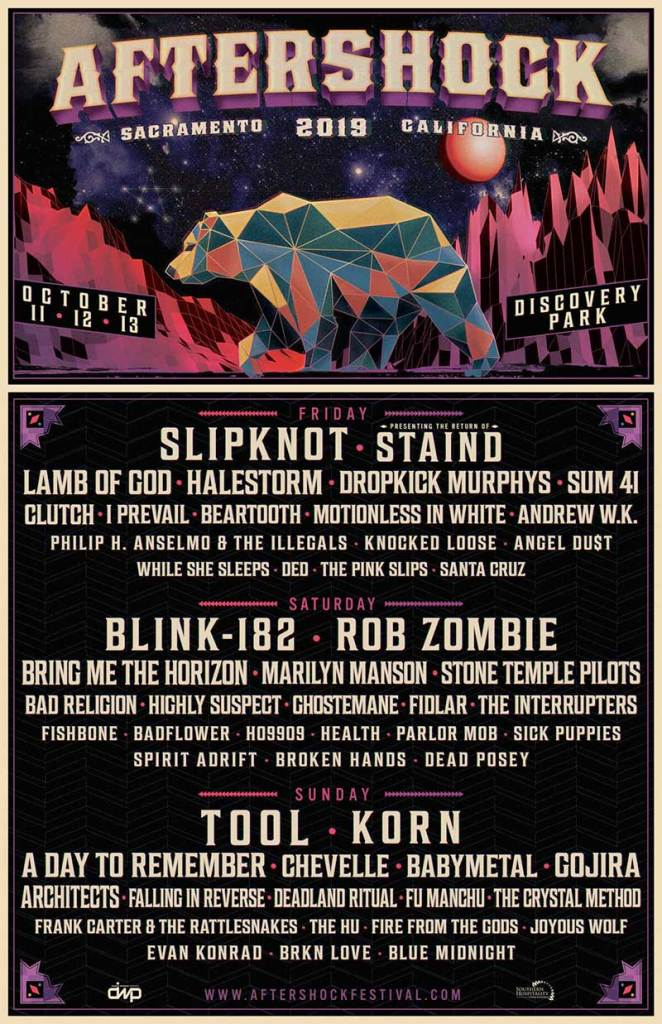 Aftershock Festival 2019 California poster