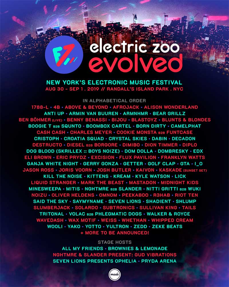 Electric Zoo 2019 first line up poster USA