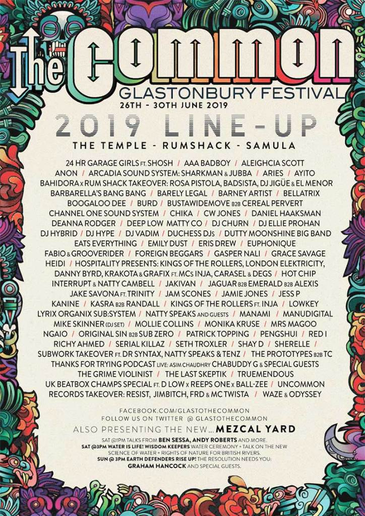 The Common line up poster at Glastonbury Festival 2019 UK